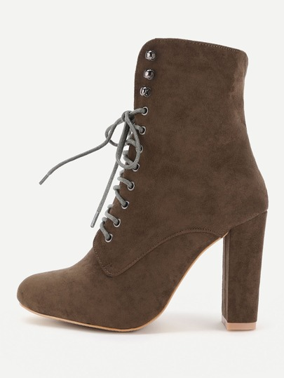 Lace Up High Heeled Ankle Boots