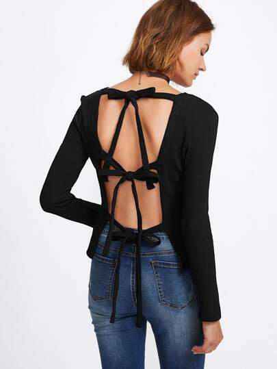 Bow Tie Open Back Ribbed Knit Tee