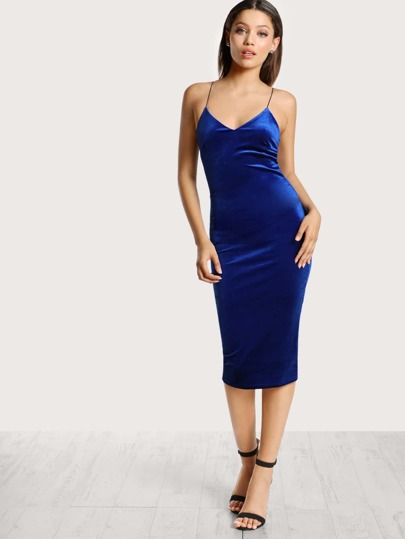 Velvet Bodycon Midi Dress BLUE