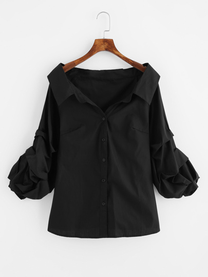 Gathered Sleeve Collared Boat Neck Blouse