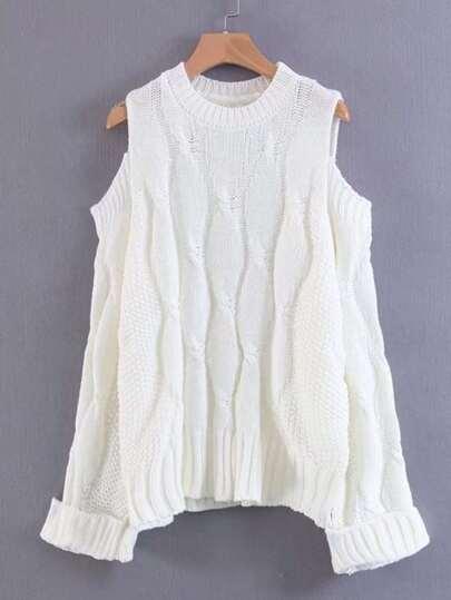 Maglione a maglia a maglia a maglia a spalla