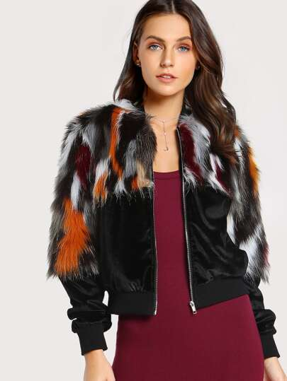 Zipper Up Colorful Faux Fur Coat