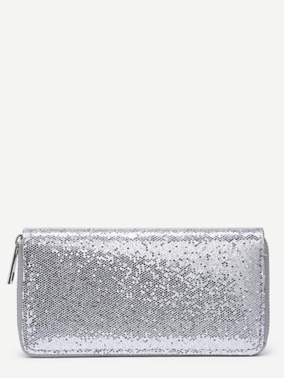 Sequin Decorated Zipper Around PU Wallet