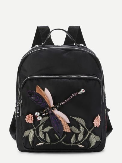 Dragonfly & Flower Decorated PU Backpack