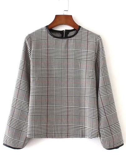Kontrast PU Piping Plaid Top
