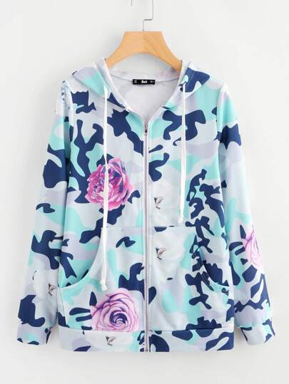 Flower And Camo Print Hoodie Jacket