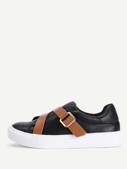 Contrast Buckle PU Trainers
