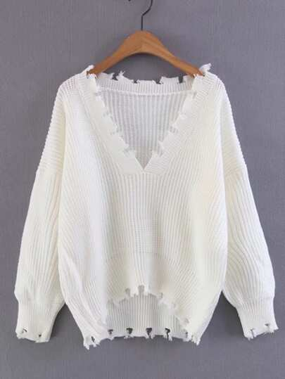 Pullover mit V Ausscnitt, abfallendem Saum und Rissen