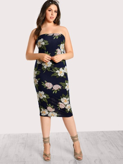 Strapless Floral Print Bodycon Dress NAVY