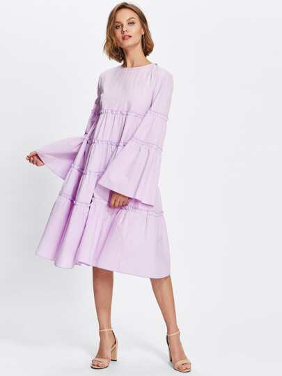 Bow Tie Back Fluted Sleeve Frilled Tiered Dress