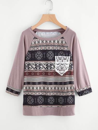 Raglan Sleeve Crochet Pocket Tribal Print T-shirt