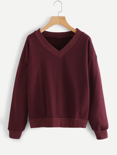 Drop Shoulder V Neckline Sweatshirt