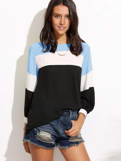 Blusa con costuras en color block