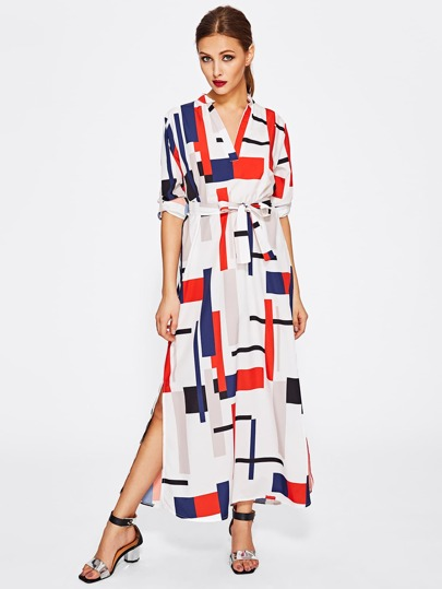 Geo Print V Neckline Tie Waist Shirt Dress