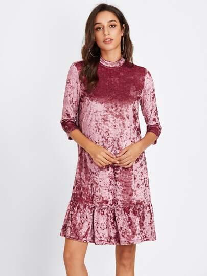 Mock Neck Frill Hem Crushed Velvet Dress