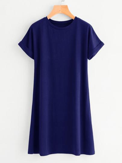 فستان قميص الأساسية بكم تدحرجت
