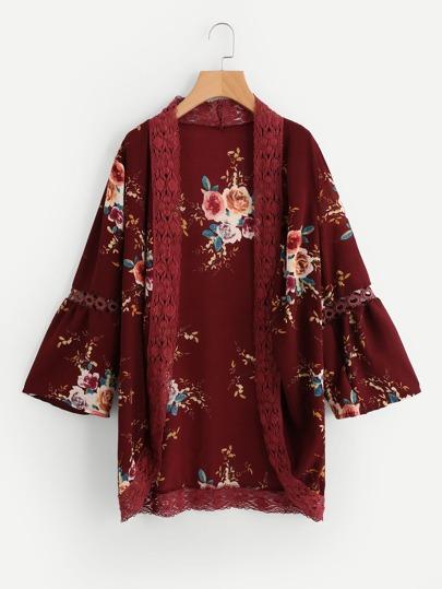 Kimono creux découpé imprimé fleuri en dentelle