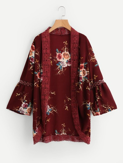 Kimono ribete de encaje con estampado floral con abertura