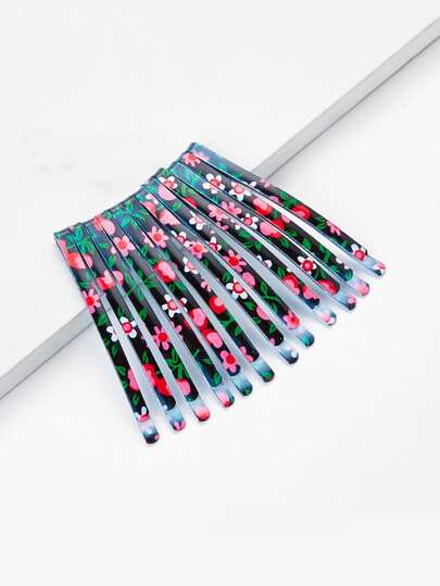 Calico Print Hair Clip 12pcs