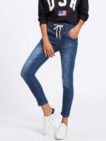 Bleach Wash Drawstring Waist Jeans