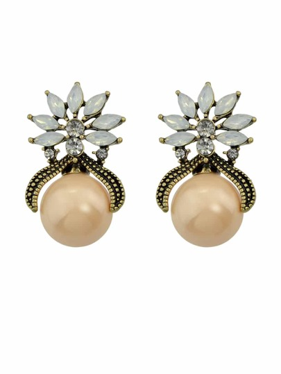 Champagne Color Fashion Small Flower Pearl Female Earrings