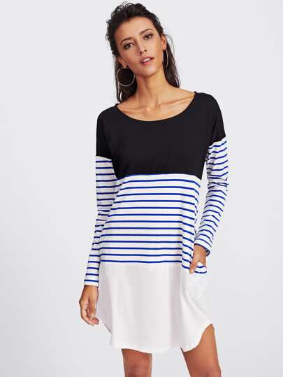 Cut And Sew Striped Panel Curved Hem Dress