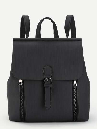 Buckle Front Double Zipper PU Backpack