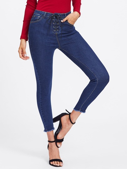 Grommet Lace Up Skinny Jeans
