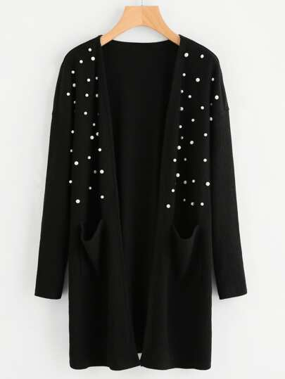 Pearl Beading Front Pocket Ribbed Coat