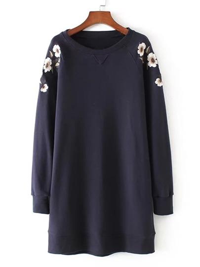 Embroidery Flower Raglan Sleeve Sweatshirt Dress