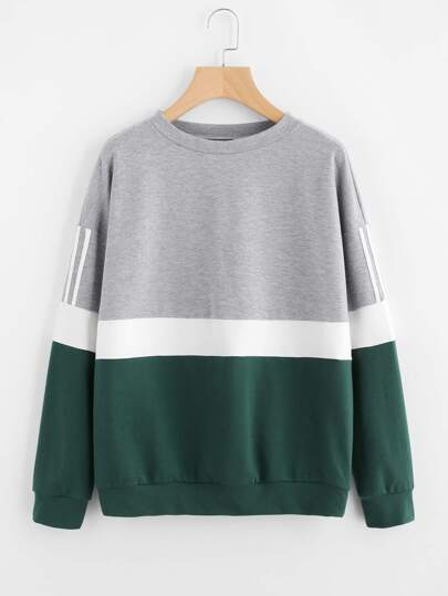 Striped Drop Shoulder Cut And Sew Sweatshirt