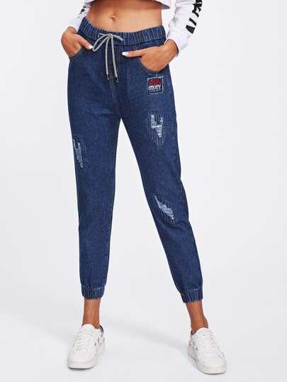 Drawstring Waist Elastic Hem Ripped Jeans