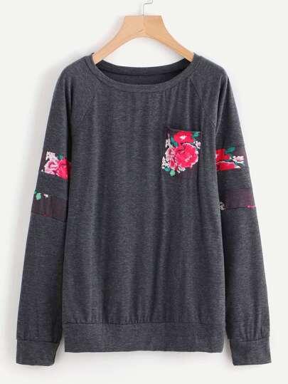 Sweat-shirt imprimé fleur bicolore