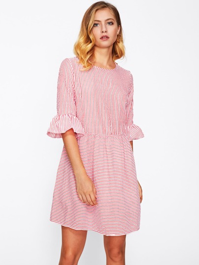 Contrast Striped Flute Sleeve Dress