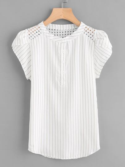 Eyelet Embroidered Panel Petal Sleeve Striped Blouse