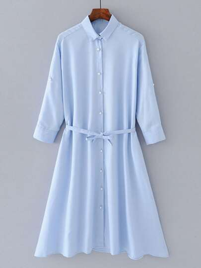 A Line Self Tie Shirt Dress With Faux Pearl Button