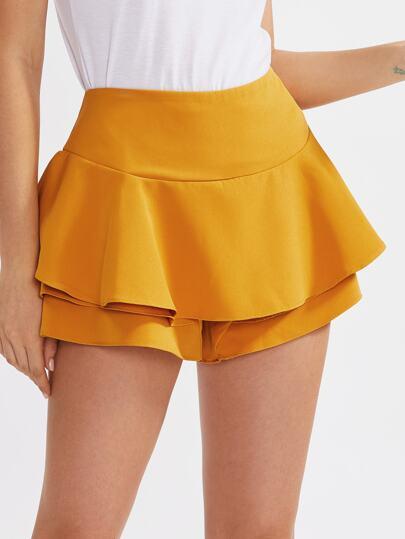 Flounce Trim Drop Waist Shorts