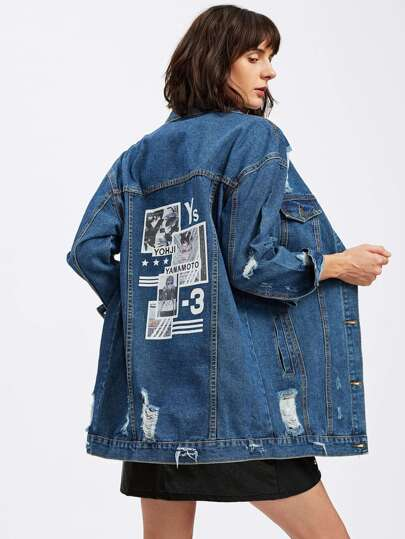 Graphic Print Ripped Loose Jacket