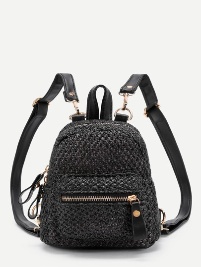 Zipper Front Straw Mini Backpack With PU Strap