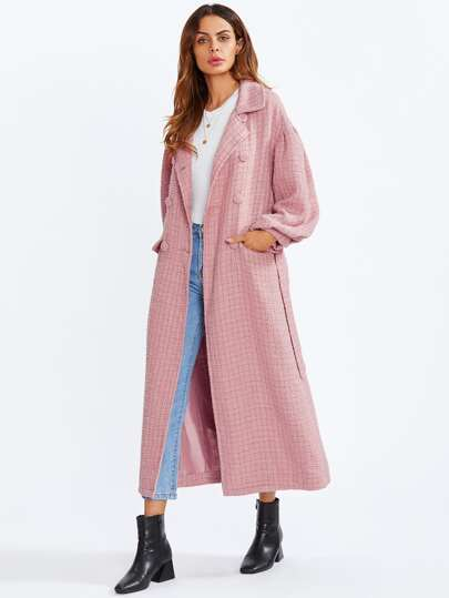 Bishop Sleeve Gun Pocket Tweed Coat