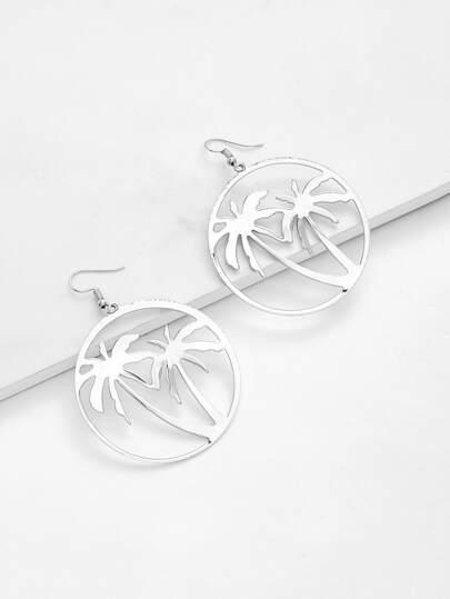 Palm Tree Hollow Circle Drop Earrings