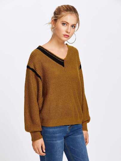 V Neckline Contrast Trim Texture Knit Sweater