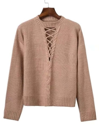 Criss Cross V Neckline Ribbed Trim Sweater