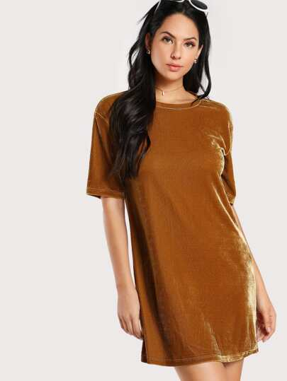 Drop Shoulder Velvet Tee Dress