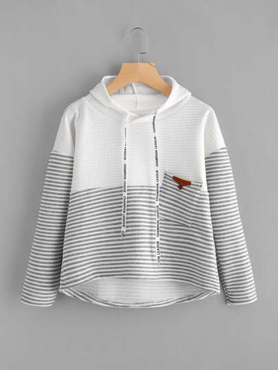 Contrast Stripe Panel Drop Shoulder Dip Hem Hoodie