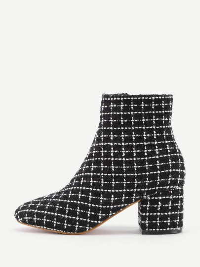 Gingham Design Block Heeled Ankle Boots