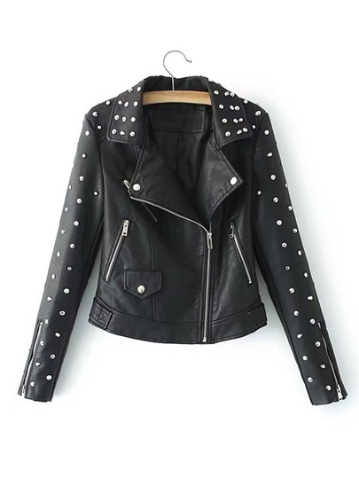 Studded Design PU Moto Jacket