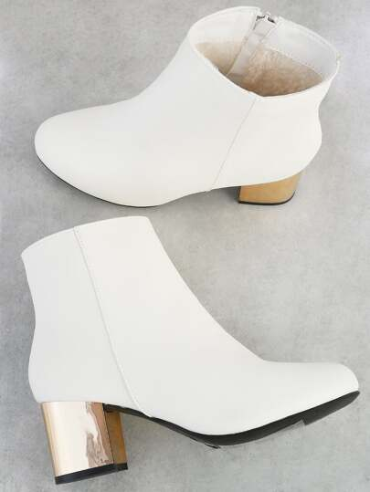 Patent Gold Heel Boots WHITE