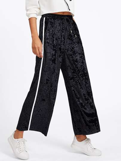 Side Striped Drawstring Waist Velvet Pants