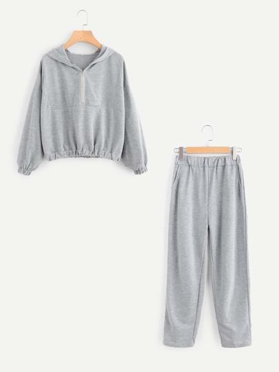 Zip Front Marled Hoodie & Pants Set